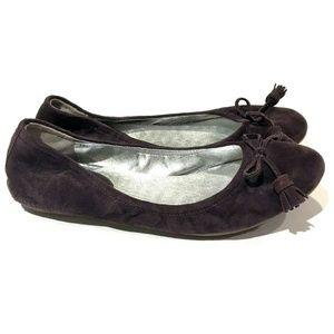 Cole Haan Air Purple Suede Ballet Flats Tassel
